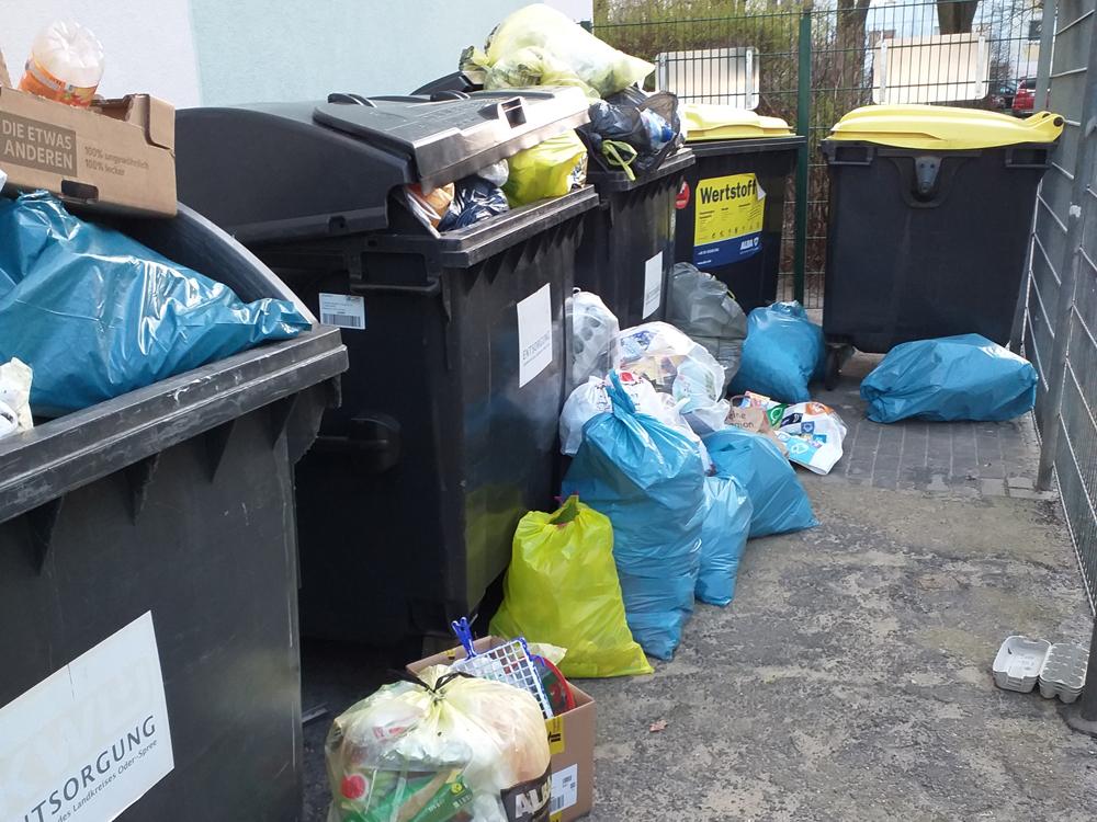 Abfallentsorgung – der Abfall wird neben den Behälter entsorgt